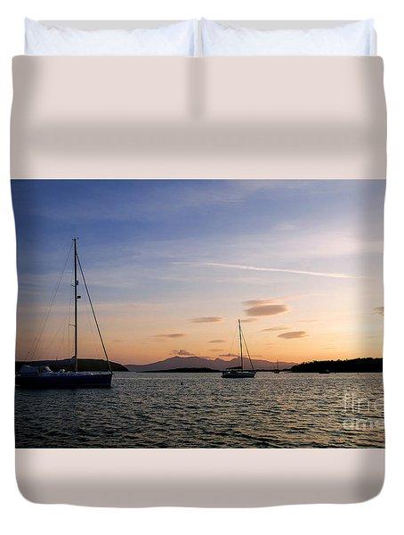 Duvet Cover featuring the photograph Arran Sunset by Lynn Bolt