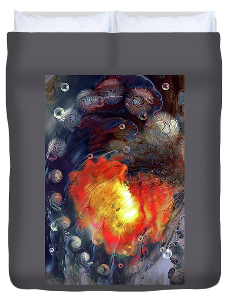 Duvet Cover featuring the digital art Arrival by Linda Sannuti