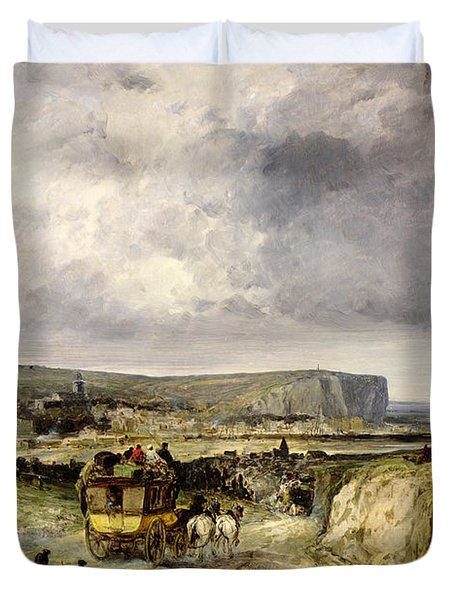 Arrival Of A Stagecoach At Treport Duvet Cover by Jules Achille Noel