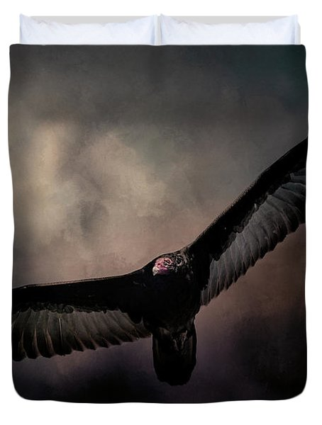 Arrival Of The Vulture Duvet Cover by Jai Johnson
