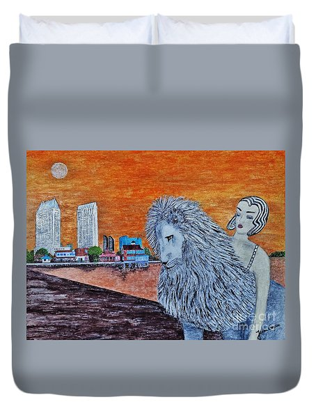 Duvet Cover featuring the painting Arrival To San Diego by Jasna Gopic
