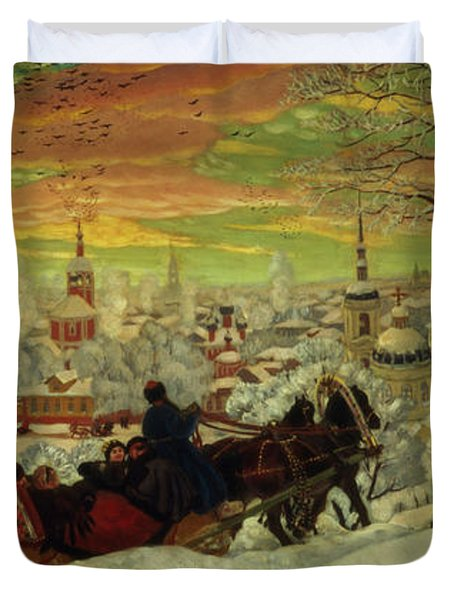Arriving For The Holidays Duvet Cover by Boris Mihajlovic Kustodiev