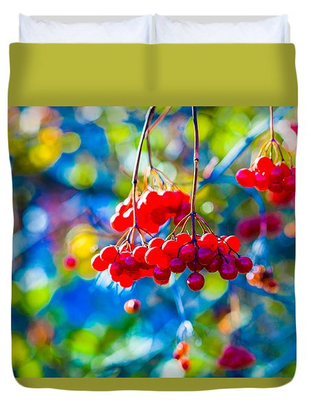 Arrowwood Berries Abstract Duvet Cover