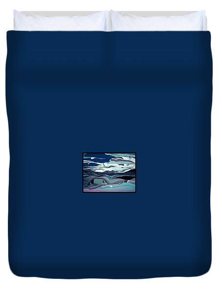 Duvet Cover featuring the painting Art Abstract by Sheila Mcdonald