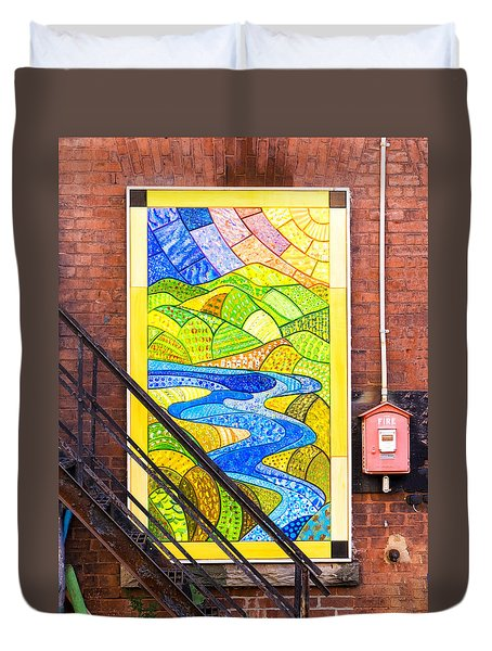 Art And The Fire Escape Duvet Cover