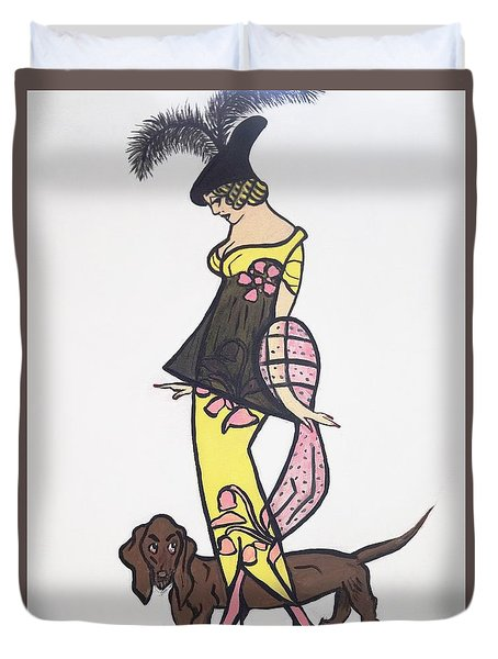 Art Deco  1920's Girls And Dogs Duvet Cover by Nora Shepley