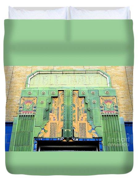 Art Deco Facade At Old Public Market Duvet Cover