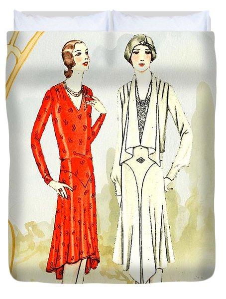 Art Deco Fashion Girls Duvet Cover
