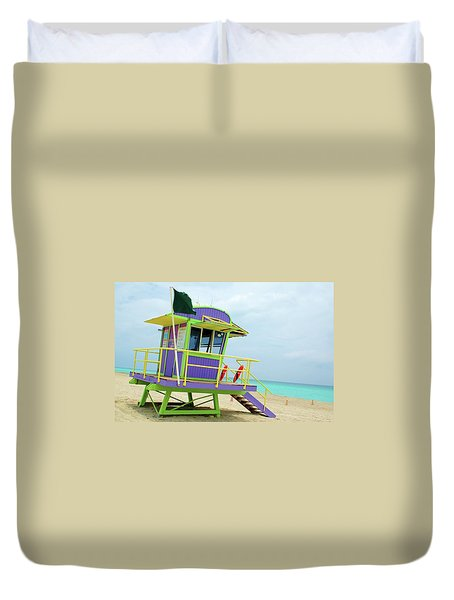 Art Deco Lifeguard Shack Duvet Cover