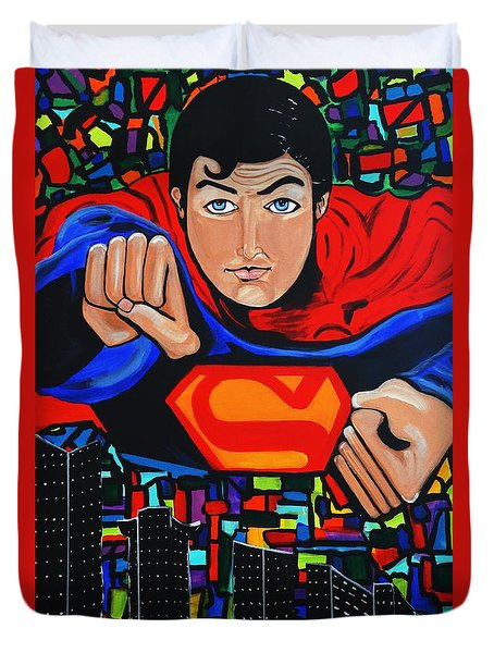 Art Deco  Superman Duvet Cover by Nora Shepley