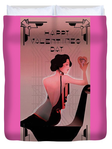 Duvet Cover featuring the digital art Art Deco Valentine Greeting by Jeff Burgess