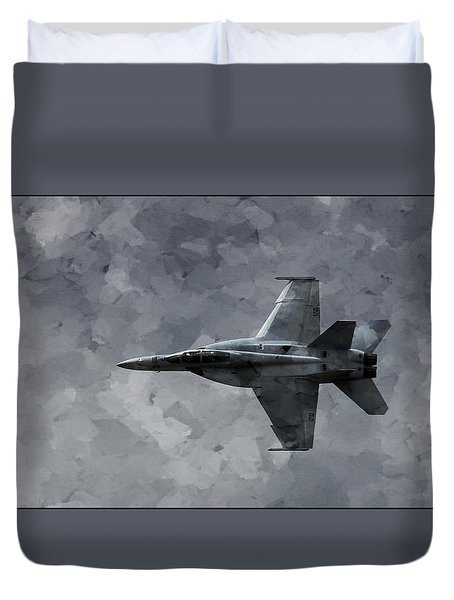 Duvet Cover featuring the photograph Art In Flight F-18 Fighter by Aaron Lee Berg