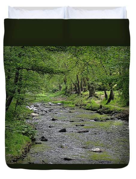 Duvet Cover featuring the photograph Art In The Forest by Milena Ilieva