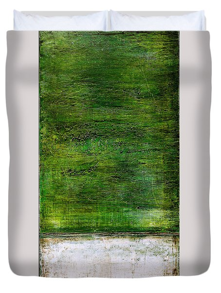 Art Print Green White Duvet Cover