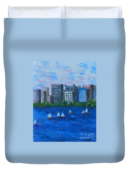 Art Study City Water Scape  Duvet Cover