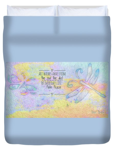 Duvet Cover featuring the painting Art Washes The Soul by Kerri Farley