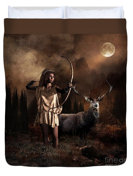 Duvet Cover featuring the digital art Artemis Goddess Of The Hunt by Shanina Conway