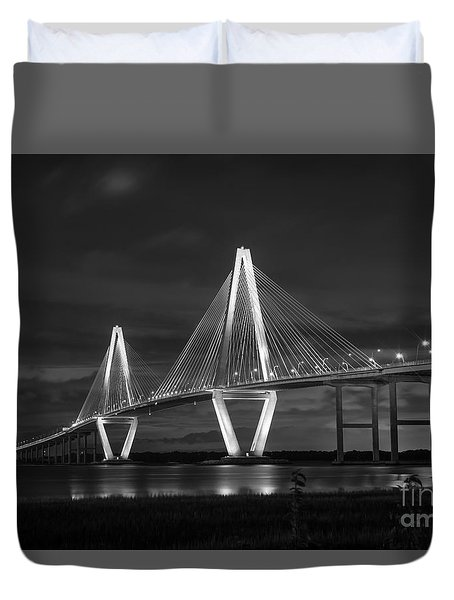 Arthur Ravenel At Night Grayscale Duvet Cover