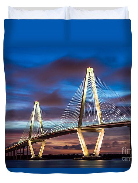 Arthur Ravenel Bridge At Night Duvet Cover