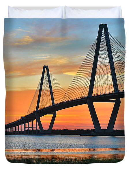 Arthur Ravenel Jr. Bridge At Dusk - Charleston Sc Duvet Cover