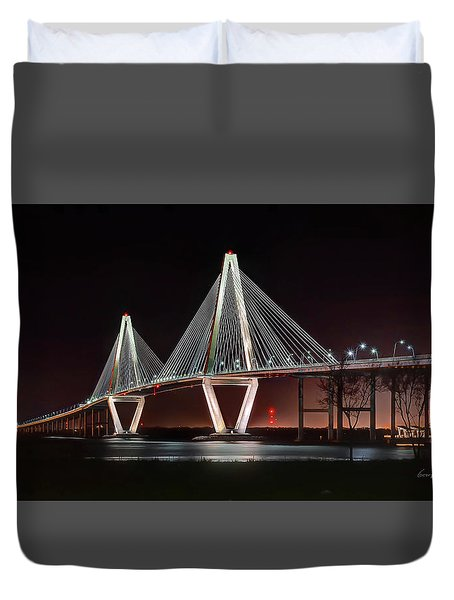 Duvet Cover featuring the photograph Arthur Ravenel Jr. Bridge At Midnight by George Randy Bass