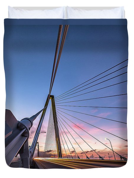 Arthur Ravenel Jr. Bridge Light Trails Duvet Cover
