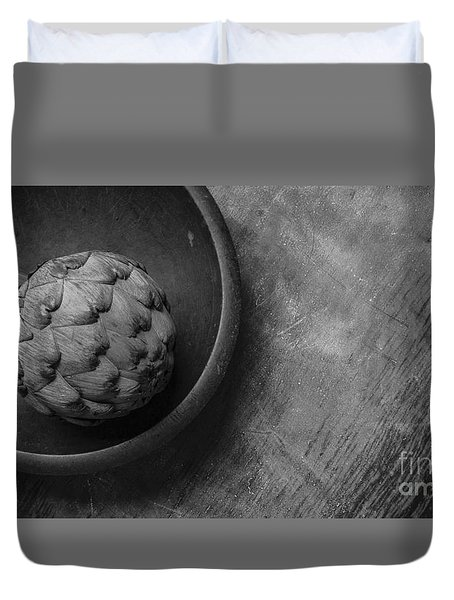 Artichoke Black And White Still Life Three Duvet Cover