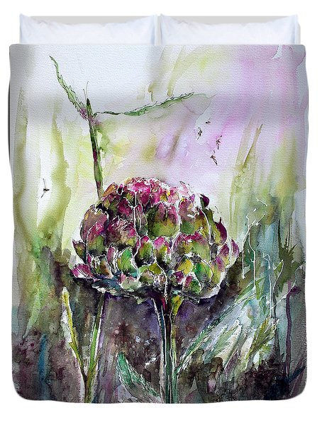 Duvet Cover featuring the painting Artichoke Watercolor And Ink By Ginette by Ginette Callaway