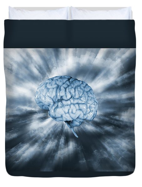 Artificial Intelligence With Human Brain Duvet Cover by Christian Lagereek