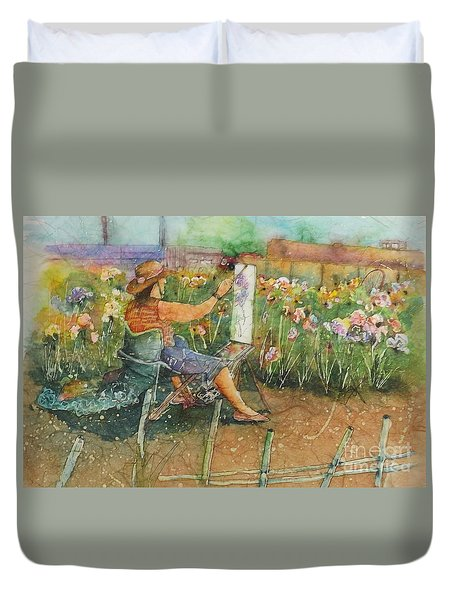 Artist In The Iris Garden Duvet Cover