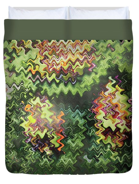 Duvet Cover featuring the painting Artistic Digital Fineart Graphic Waves From Veggie Green Salad Christmas Birthday Holidays Mom Dad  by Navin Joshi
