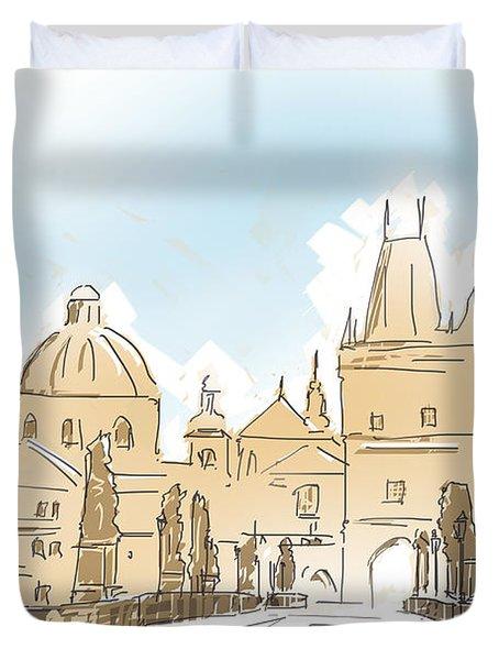 Artistic Digital Painting Of Charles Bridge Prague Duvet Cover