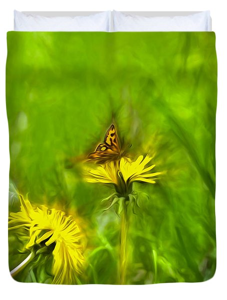 Artistic Painterly Butterfly 1 On Dandelion Duvet Cover by Leif Sohlman