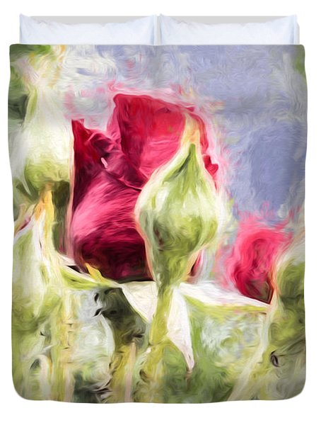Artistic Rose And Buds Duvet Cover by Leif Sohlman
