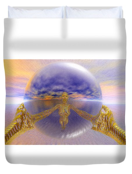 Duvet Cover featuring the painting Artistic Selfie by Robby Donaghey