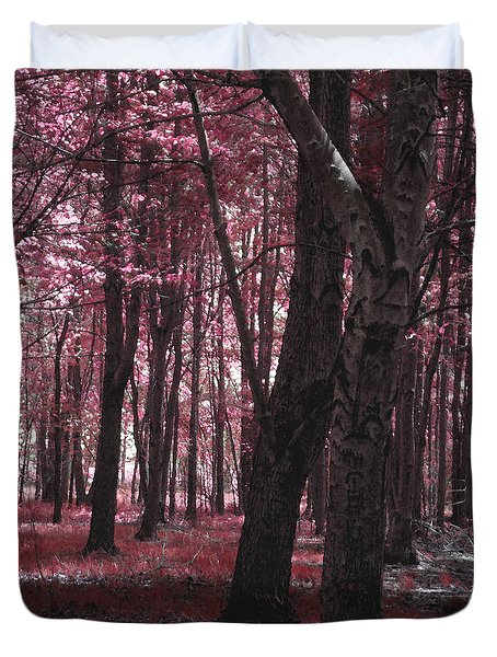 Duvet Cover featuring the photograph Artistic Tree In Pink by Michelle Audas