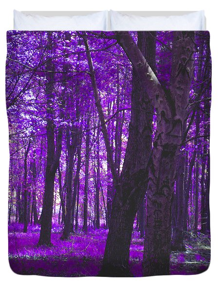 Duvet Cover featuring the photograph Artistic Tree In Purple by Michelle Audas