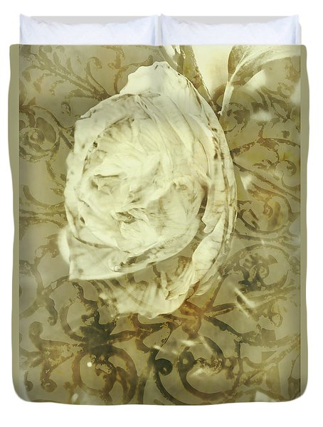 Artistic Vintage Floral Art With Double Overlay Duvet Cover