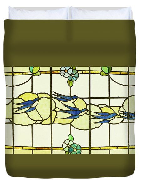 Arts And Crafts Panel Of A Group Of Swallows Before Clouds In A Border Of Flowers Duvet Cover