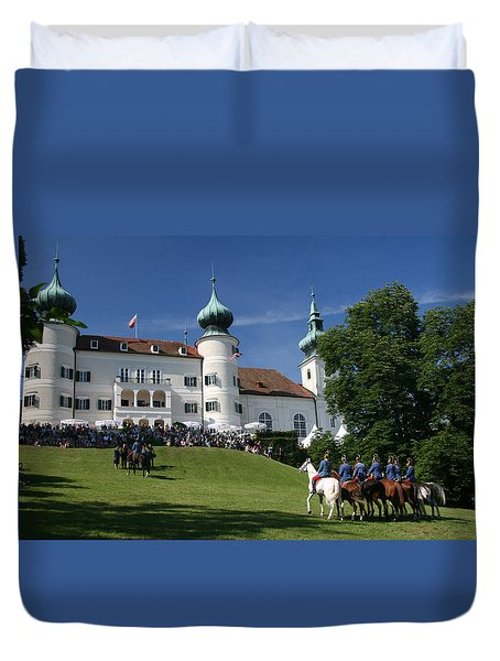 Duvet Cover featuring the photograph Artstetten Castle In June by Travel Pics