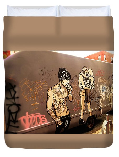 Artsy Love Scenes On New York Truck Duvet Cover