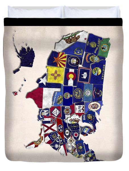 United States Map With Fifty States Duvet Cover by World Art Prints And Designs