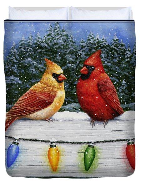 Bird Painting - Christmas Cardinals Duvet Cover