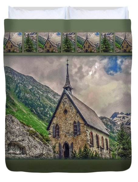 Mountain Chapel Duvet Cover by Hanny Heim