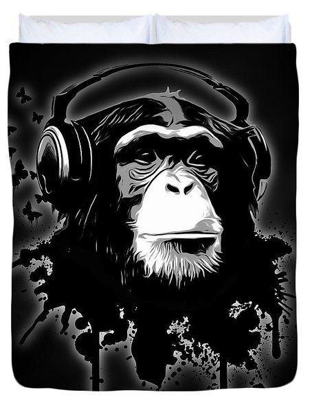 Monkey Business - Black Duvet Cover by Nicklas Gustafsson