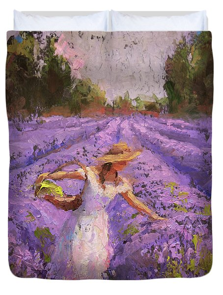 Woman Picking Lavender In A Field In A White Dress - Lady Lavender - Plein Air Painting Duvet Cover