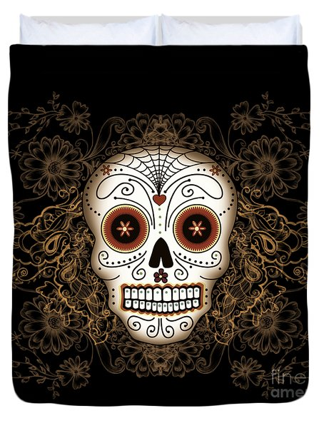 Vintage Sugar Skull Duvet Cover by Tammy Wetzel
