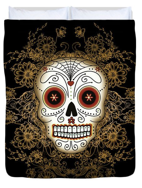 Vintage Sugar Skull Duvet Cover