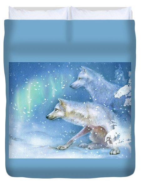 Snowy Den Wolves Duvet Cover