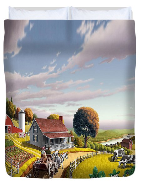 Appalachian Blackberry Patch Rustic Country Farm Folk Art Landscape - Rural Americana - Peaceful Duvet Cover